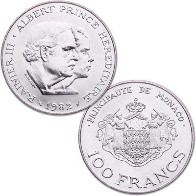 Image for 1982 Monaco Silver 100 Francs from Littleton Coin Company