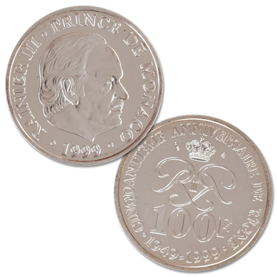 Image for 1999 Monaco Silver 100 Francs from Littleton Coin Company