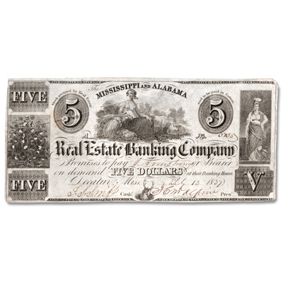 Image for 1839 Mississippi & Alabama Real Estate Banking Co. $5 Note from Littleton Coin Company