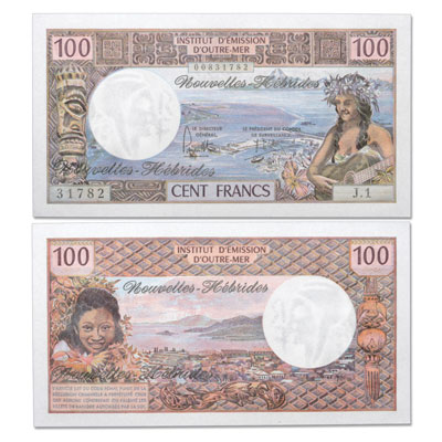 Image for ND(1975) New Hebrides 100 Francs, P#18c from Littleton Coin Company