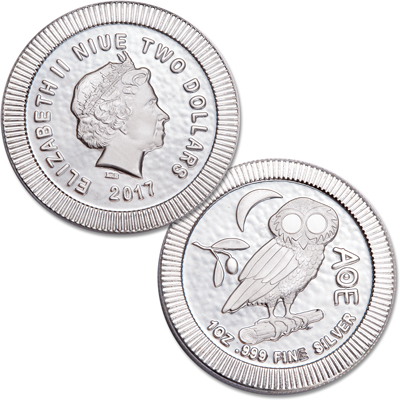 Image for 2017 Niue 1 oz. Silver $2 Athenian Owl from Littleton Coin Company