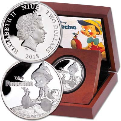 Image for 2018 Niue 1 oz. Silver $2 Pinocchio from Littleton Coin Company