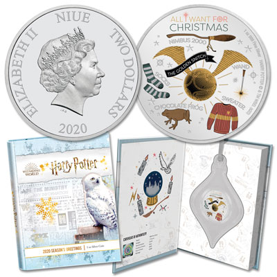 Image for 2020 Niue 1 oz. Silver $2 Harry Potter Season's Greetings Ornament from Littleton Coin Company