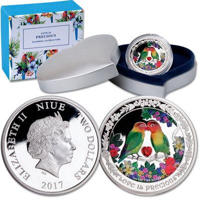 Image for 2017 Niue Silver $2 Love is Precious - Lovebirds from Littleton Coin Company
