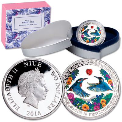 Image for 2018 Niue $2 Silver Love is Precious - Kingfishers from Littleton Coin Company