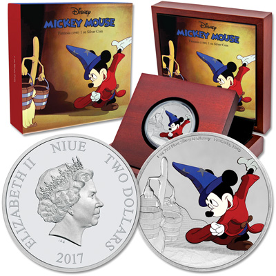 Image for 2017 Niue 1 oz. Silver $2 Mickey Through the Ages - Fantasia from Littleton Coin Company