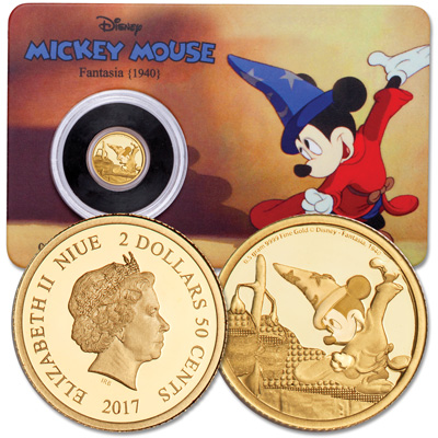 Image for 2017 Niue Gold $2.50 Mickey Mouse Fantasia from Littleton Coin Company