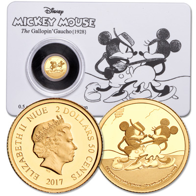 Image for 2017 Niue Gold $2.50 Mickey Mouse The Gallopin' Gaucho from Littleton Coin Company