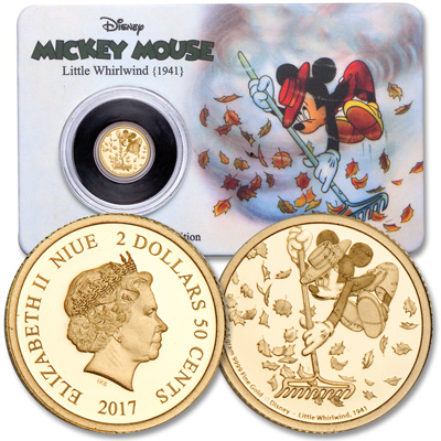 Image for 2017 Niue Gold $2.50 Mickey Mouse Little Whirlwind from Littleton Coin Company
