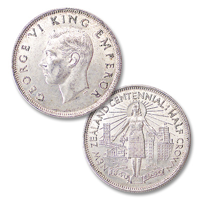 Image for 1940 New Zealand Centennial Silver Half Crown from Littleton Coin Company