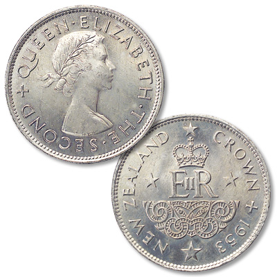 Image for 1953 New Zealand Copper-Nickel Queen Elizabeth II Coronation Crown from Littleton Coin Company