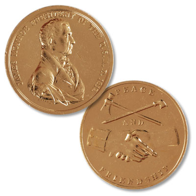 Image for Gold-Plated James Monroe Medal from Littleton Coin Company