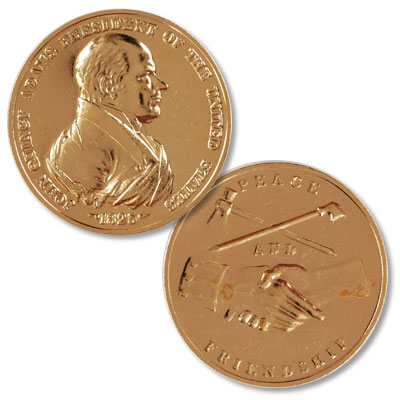 Image for Gold-Plated John Q. Adams Medal from Littleton Coin Company