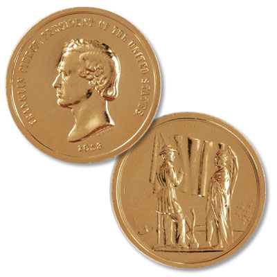 Image for Gold-Plated Franklin Pierce Medal from Littleton Coin Company