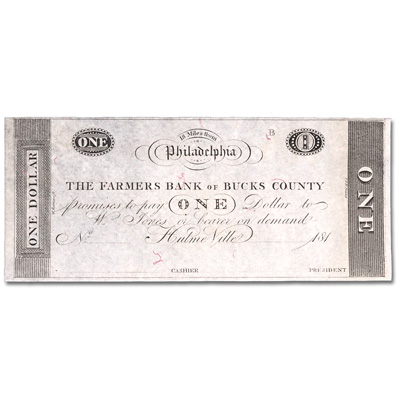 Image for 1815 Farmers Bank of Bucks County $1 Note from Littleton Coin Company