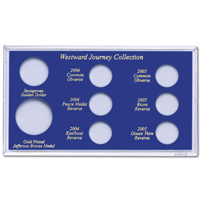 Image for Handcrafted Capital Holder Westward Journey Set (holds 8 coins) from Littleton Coin Company