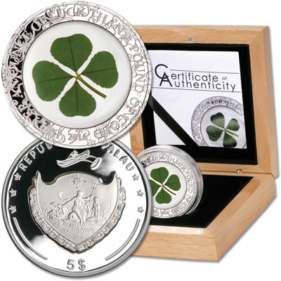 Image for 2016 Palau Silver $5 Four Leaf Clover from Littleton Coin Company