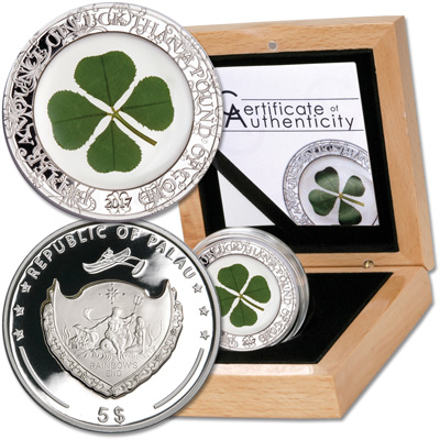Image for 2017 Palau Silver $5 Four Leaf Clover from Littleton Coin Company