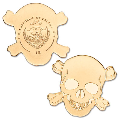 Image for Palau 1/2 Gram Gold $1 Pirate Skull from Littleton Coin Company