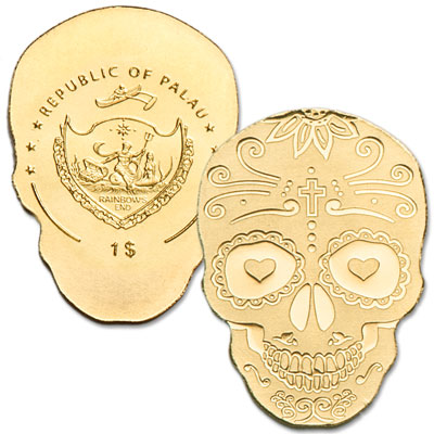 Image for Palau 1/2 Gram Gold $1 Catrina Skull from Littleton Coin Company