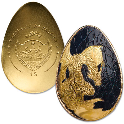 Image for Palau 1/2 gram Gold $1 Golden Dragon Egg from Littleton Coin Company