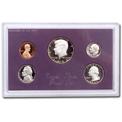 Image for 1986-S U.S. Mint Clad Proof Set (5 coins), Choice Proof, PR63 from Littleton Coin Company