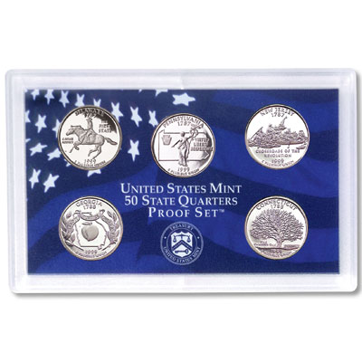Image for 1999-S U.S. Mint Statehood Quarters Clad Proof Set (5 coins), Choice Proof, PR63 from Littleton Coin Company