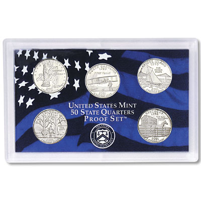 2001 US Coin Mint Set Dollar Kennedy Half State Quarters 10 Coin Free Shipping 2