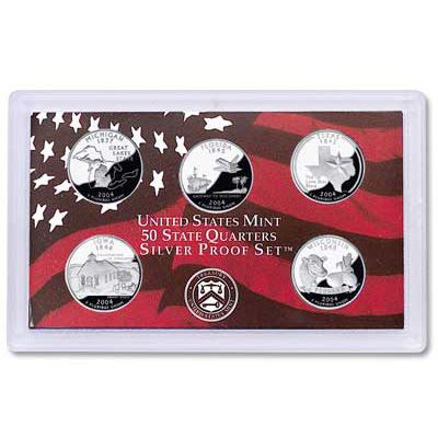Image for 2004-S U.S. Mint Statehood Quarters Silver Proof Set (5 coins), Choice Proof, PR63 from Littleton Coin Company
