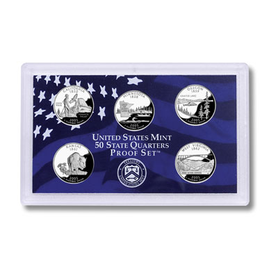 Image for 2005-S U.S. Mint Statehood Quarters Clad Proof Set (5 coins), Choice Proof, PR63 from Littleton Coin Company