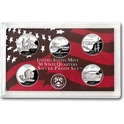 Image for 2005-S U.S. Mint Statehood Quarters Silver Proof Set (5 coins), Choice Proof, PR63 from Littleton Coin Company