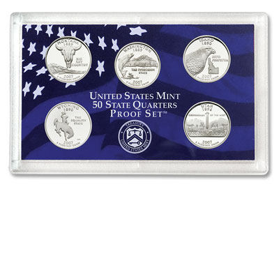 Image for 2007-S U.S. Mint Statehood Quarters Clad Proof Set (5 coins), Choice Proof, PR63 from Littleton Coin Company