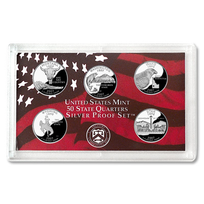 Image for 2007-S U.S. Mint Statehood Quarters Silver Proof Set (5 coins), Choice Proof, PR63 from Littleton Coin Company