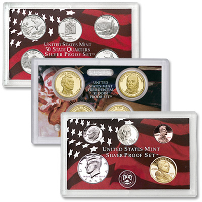 2008 SILVER PROOF SET WITH PRESIDENTS /& STATE QUARTERS 14 COIN