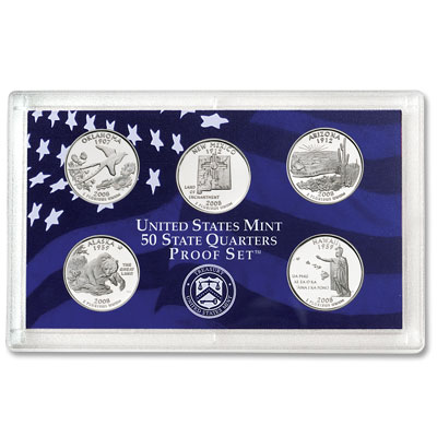 Image for 2008-S U.S. Mint Statehood Quarters Clad Proof Set (5 coins), Choice Proof, PR63 from Littleton Coin Company
