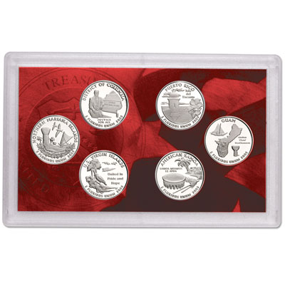 Image for 2009-S U.S. Mint D.C. & U.S. Territories Quarters Silver Proof Set (6 coins), Choice Proof, PR63 from Littleton Coin Company
