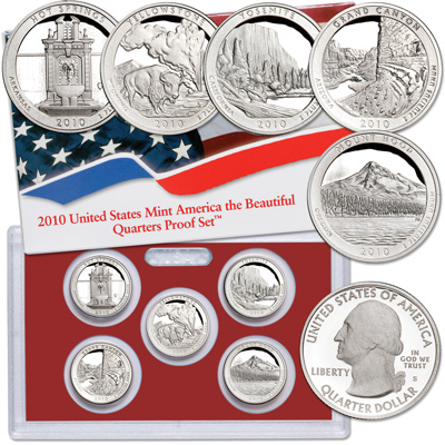 Image for 2010-S America's National Park Quarters 90% Silver Proof Set (5 coins), Choice Proof, PR63 from Littleton Coin Company