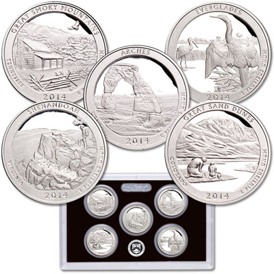 Image for 2014-S America's National Park Quarters 90% Silver Proof Set from Littleton Coin Company