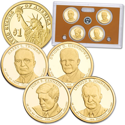 Image for 2015-S U.S. Mint Presidential Dollar Proof Set (4 coins) from Littleton Coin Company