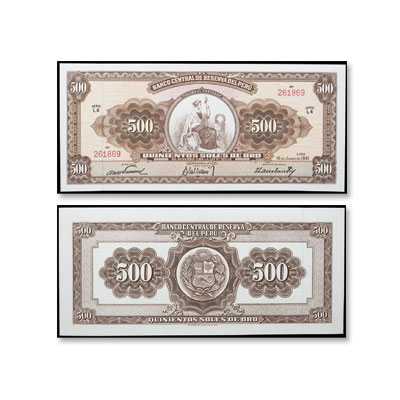 Image for 1956-1961 Peru 500 Soles, P#80, Uncirculated from Littleton Coin Company