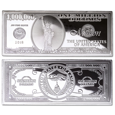 Image for 2018 4 oz. Silver Million Dollar Bill from Littleton Coin Company