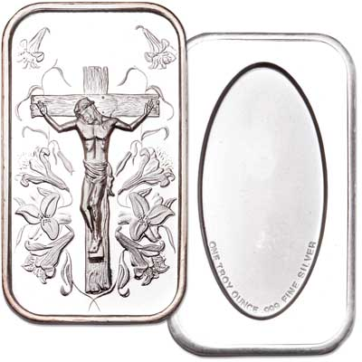 Image for 1 oz. 99.9% Silver Jesus Bar from Littleton Coin Company