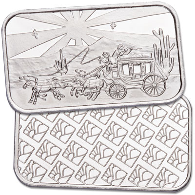 Image for LCC Stagecoach 1 oz. Silver Bar from Littleton Coin Company