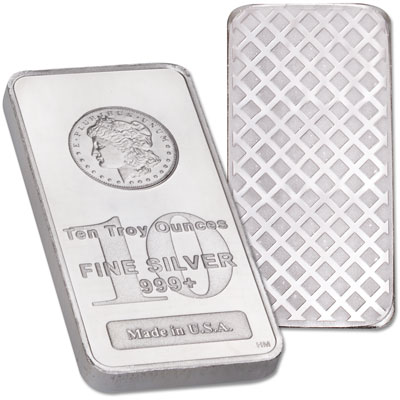 Image for 10 oz. Silver Bar - Morgan Dollar Design from Littleton Coin Company