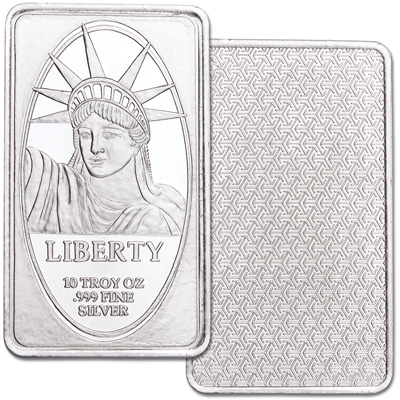 Image for 10 oz. Silver Statue of Liberty Bar from Littleton Coin Company
