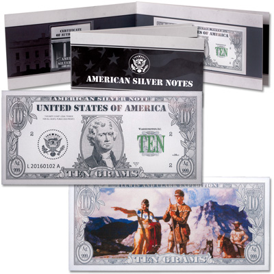 Image for 10 Gram Silver American Bank Note Bar - Lewis & Clark Expedition from Littleton Coin Company