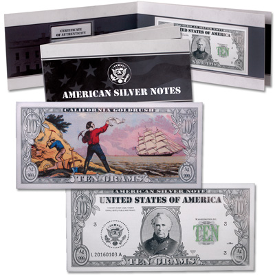 Image for 10 Gram Silver American Bank Note Bar - Zachary Taylor from Littleton Coin Company