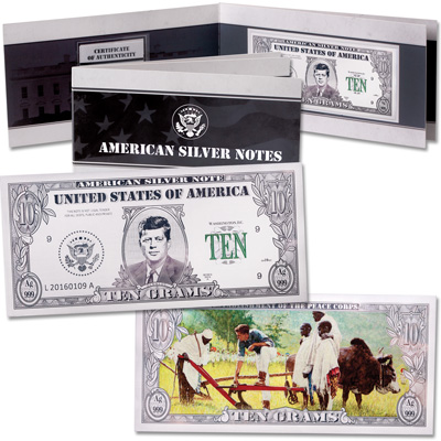 Image for 10 Gram Silver American Bank Note Bar - John F. Kennedy from Littleton Coin Company