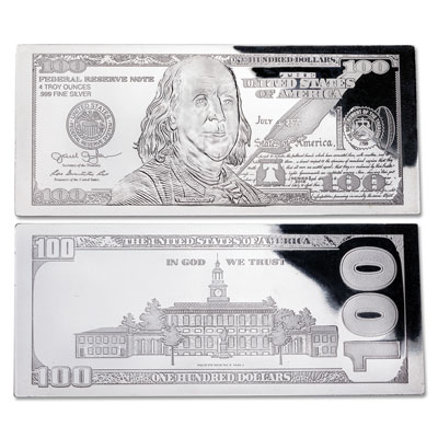 Image for 2016 4 oz. Silver $100 Bill from Littleton Coin Company