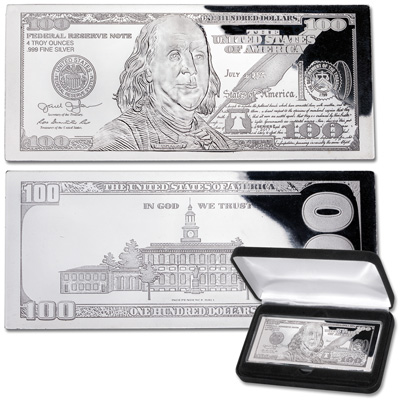 Image for 2017 4 oz. Silver $100 Bill from Littleton Coin Company